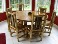round log dining table
