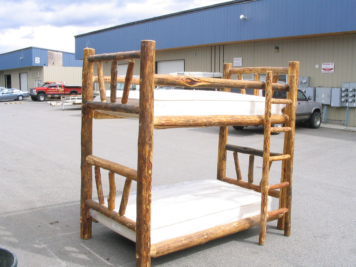 Twin Over Weathered Log Bunk Bed